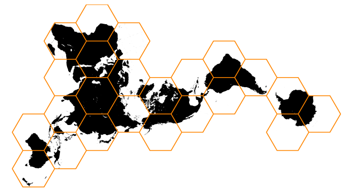 A mathematically-impossible, hexagonally-tiled world map